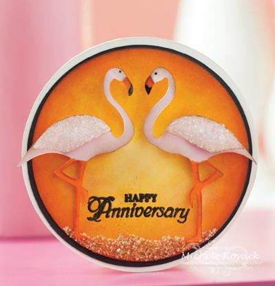 Flamingo Love Handmade Anniversary Card