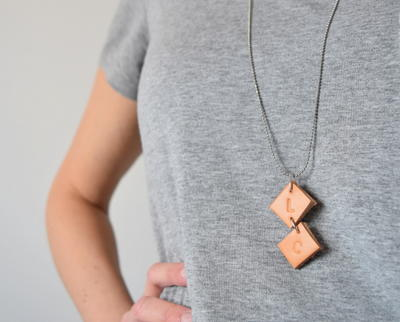 Upcycled Initial Leather Necklace