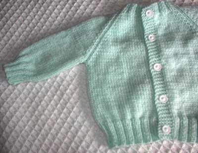Knitting Pattern Raglan Sleeve Baby Cardigan : Top Down Raglan Baby Sweater AllFreeKnitting.com