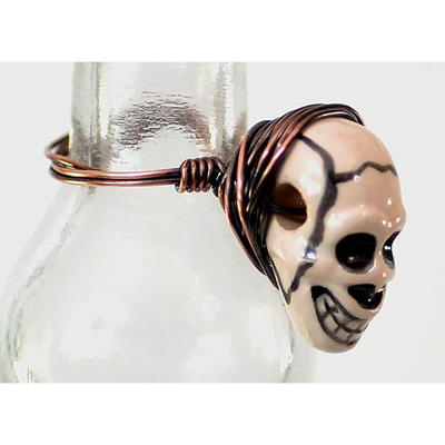 Skull Bead Wire Wrapped Ring