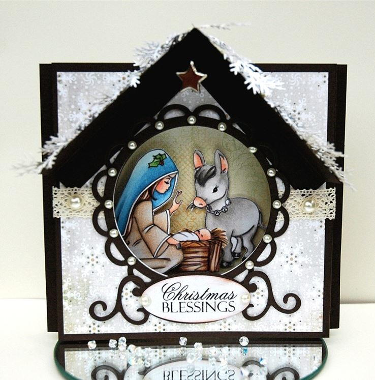 Sweet Nativity Aperture Christmas Card