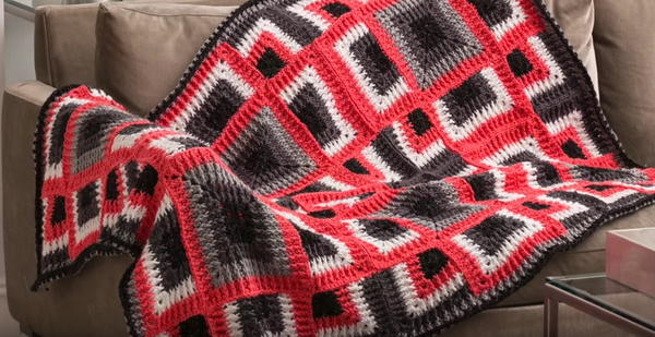 Dynamic Squares Crochet Throw