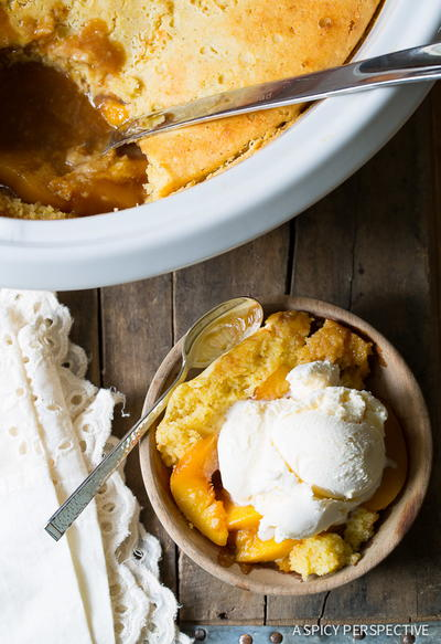 Southern Slow Cooker Peach Cobbler Recipe