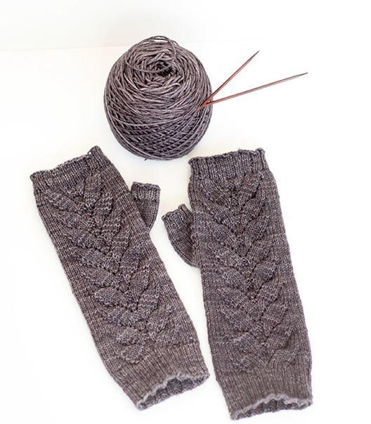 Slate Gray Fingerless Gloves AllFreeKnitting.com