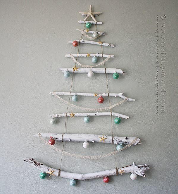 Beachy Branch Wall Christmas Tree AllFreeChristmasCrafts