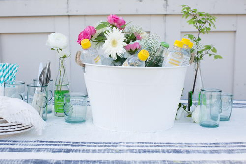 Beverage Bucket Floral Centerpiece