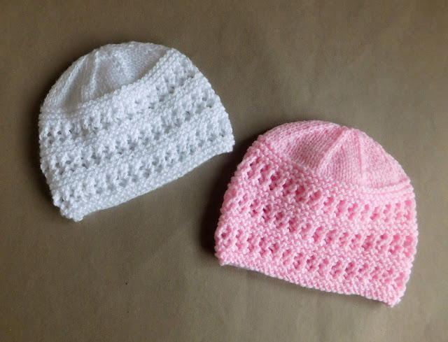 Knitting Pattern For Lace Baby Hat : Two Baby Hat Knitting Patterns AllFreeKnitting.com