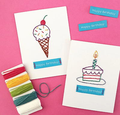 Hand Embroidered Birthday Cards