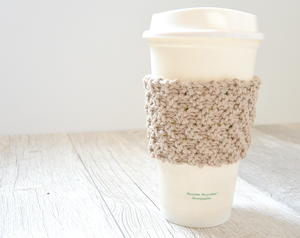 Double Seed Stitch Coffee Cozy