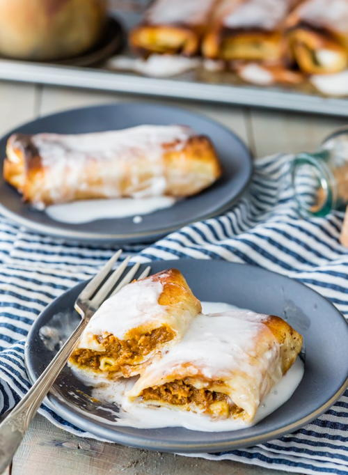 Baked Pumpkin Pie Chimichangas
