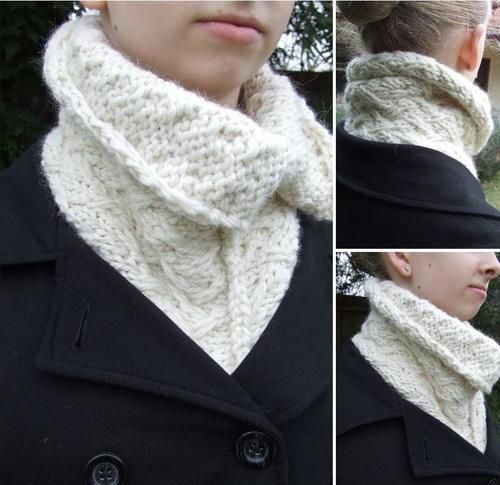 Neck Cowl Knitting Pattern : Buttoned Up Knit Cowl AllFreeKnitting.com