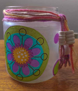 Glass Jar Mod Podge Makeover