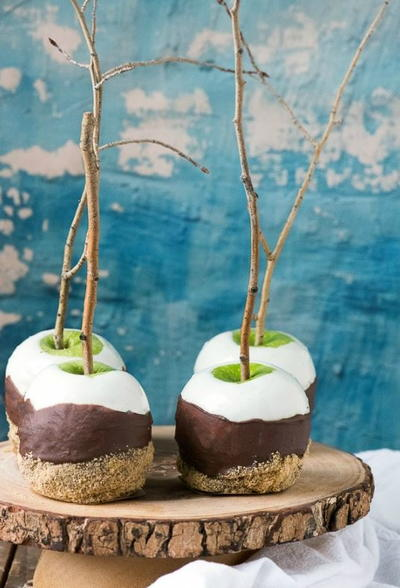 Double-Dipped Smores Apples on a Stick