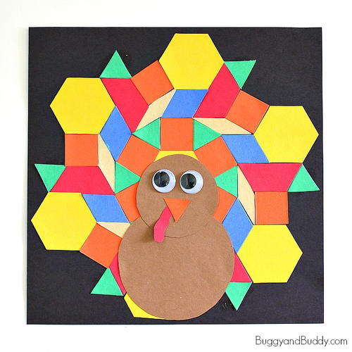 Mosaic Turkey Paper Craft for Kids