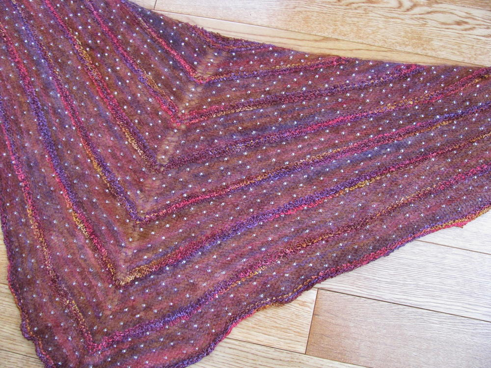 Mohair Lace Knitting Pattern Free : Bohemian Beaded Mohair Shawl AllFreeKnitting.com