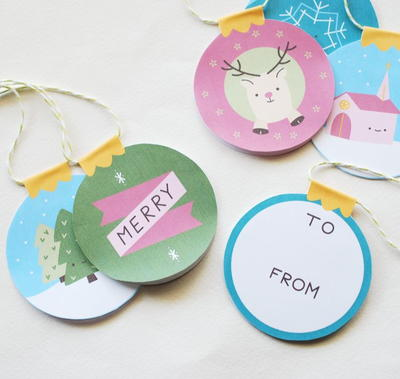 Adorable Printable Gift Tags and Paper Ornaments