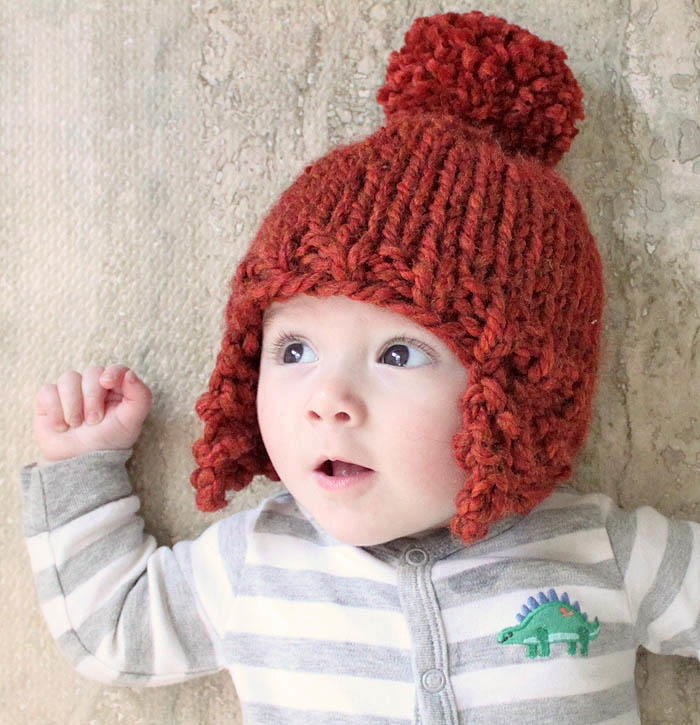 Knitting Pattern For Toddler Hat With Earflaps : Ear Flap Baby Hat AllFreeKnitting.com
