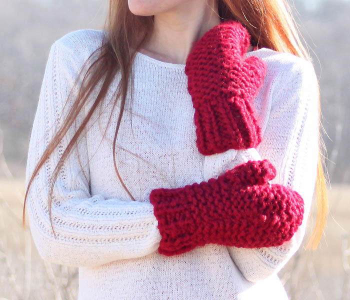 Knitting Needles And Yarn For Beginners : Incredibly easy chunky mittens allfreeknitting
