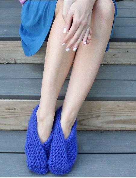 Foldover Garter Stitch Slippers