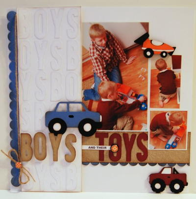 Boys and Their Toys Scrapbook Layout