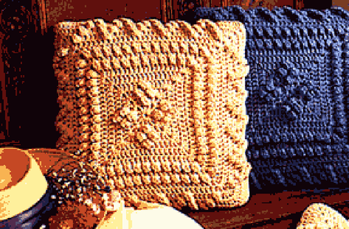 Cozy Cottage Crochet Popcorn Pillow