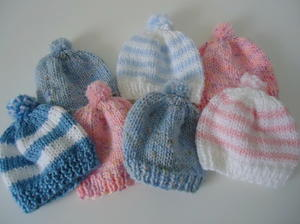 Hand knitted 12-18 months baby hat Baby blue  Cable pattern.