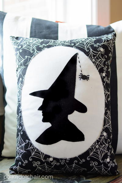 Wicked Witch Silhouette Pillow