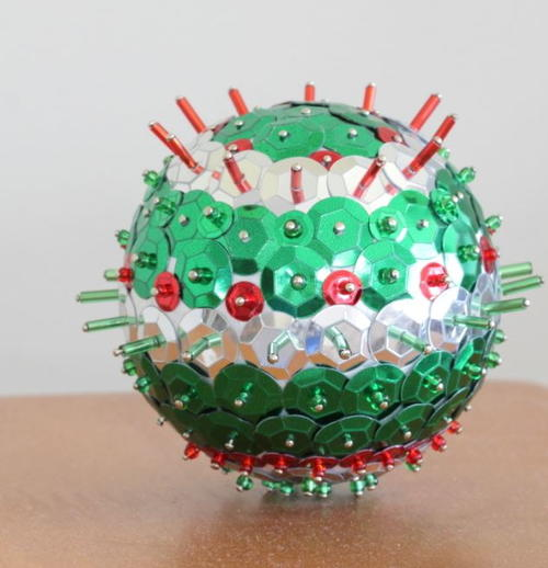 Brightly Beaded Ball Ornament