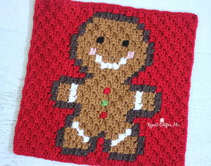 Gingerbread Man Pixel Square