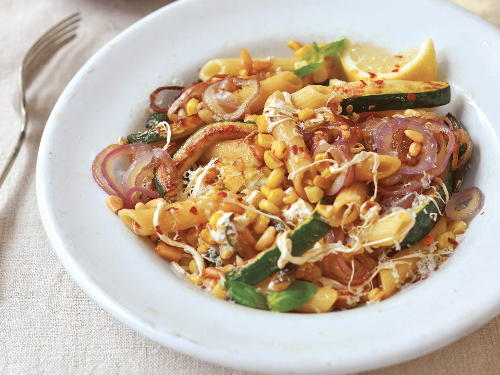 Zucchini, Sweet Corn, and Basil Penne with Pine Nuts and ...