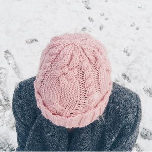 Dusty Rose Cable Hat