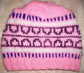 Pink and Purple Colorwork Hat