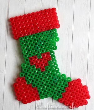 Stocking Perler Bead Pattern Ornament