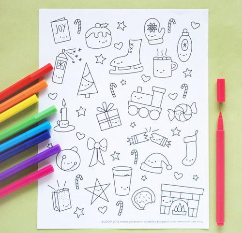 Kawaii Christmas Coloring Pages