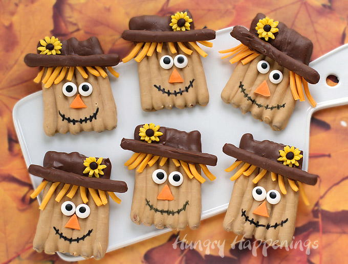 Pretzel scarecrow thanksgiving recipe allfreekidscrafts