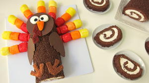 Turkey Cake Roll Thanksgiving Dessert