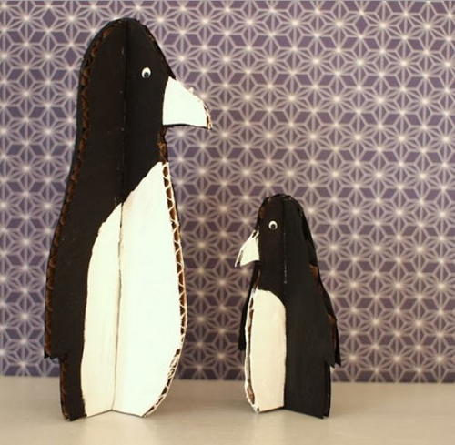 Cardboard Penguin Christmas Crafts for Kids