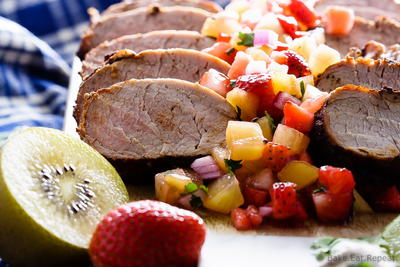Grilled Pork Tenderloin with Strawberry Kiwi Salsa