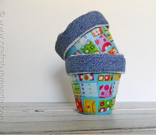 Fabric Scrap Pot Decoration Gift Idea
