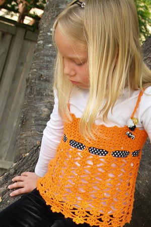 Kid's Orange Crochet Tank