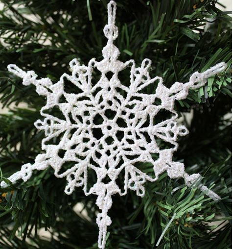 Sparkly Crochet Snowflake Ornament