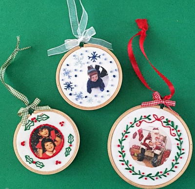 Embroidered Fabric Photo Ornaments