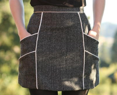Chalk Lines Mini Skirt