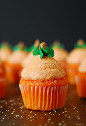 Pumpkin Cupcakes with Buttercream Frosting