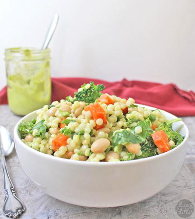 Israeli Couscous Salad with Creamy Avocado Dressing