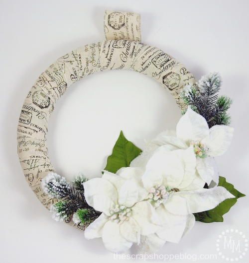 Scripted Ribbon Poinsettia DIY Christmas Wreath