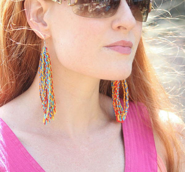 Rainbow Braided Tassel Earrings