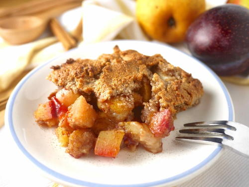 Plum Pear and Apple Crumble