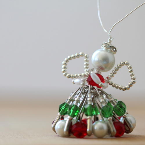 Silver and Pearl Safety Pin Angel Ornament