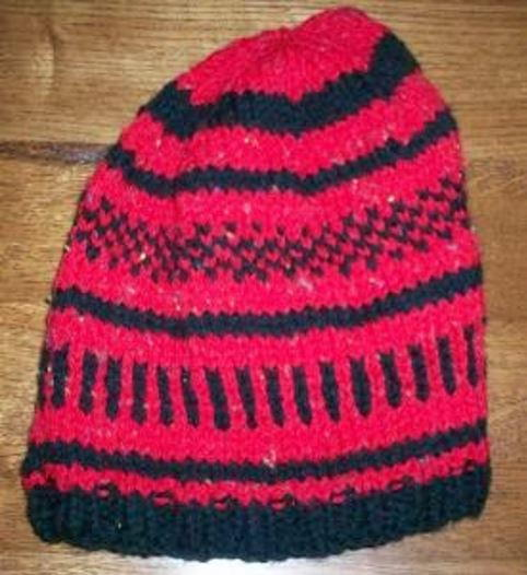 Red and Black Colorwork Hat